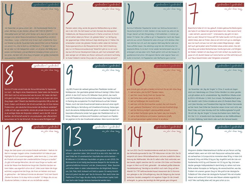 Übersicht Zeug nach Zahlen Adventskalender
